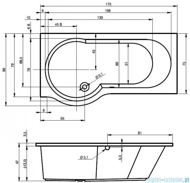 Riho Dorado Wanna asymetryczna 170x75 prawa z hydromasażem HIT Hydro 4+4+2 BA80H2