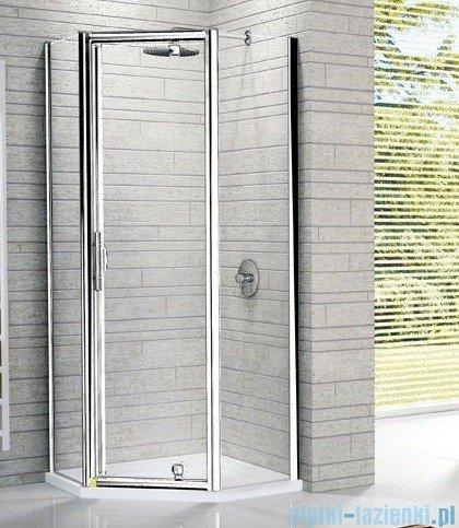 Novellini Kabina prysznicowa pięciokątna LUNES Pentagon G 120x90 cm szkło przejrzyste profil srebrny LUNESPG120-1B