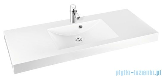 Marmorin Moira Bis 120 umywalka nablatowa 120 cm z otworem biała 280120020011