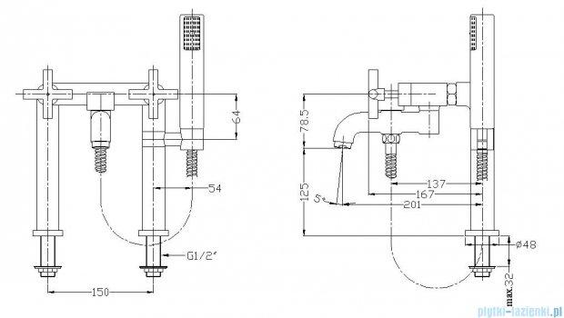 Omnires Modern bateria wannowa stojąca chrom C304-H