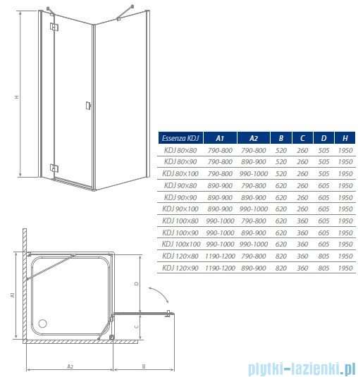 Essenza KDJ Radaway kabina 100x80 prawa szkło brązowe 32842-01-08NR