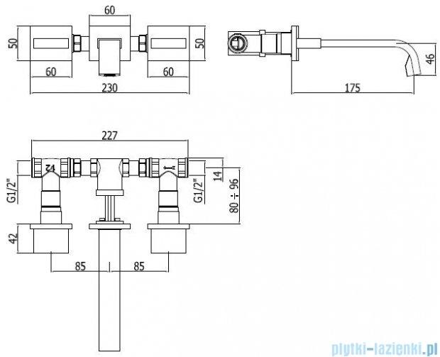 Paffoni Bateria umywalkowa podtynkowa 3-elementowa Level Piatta chrom LEP003CR