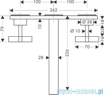 Hansgrohe Axor Citterio 3-otworowa bateria umywalkowa ścienna podtynkowa 39144000