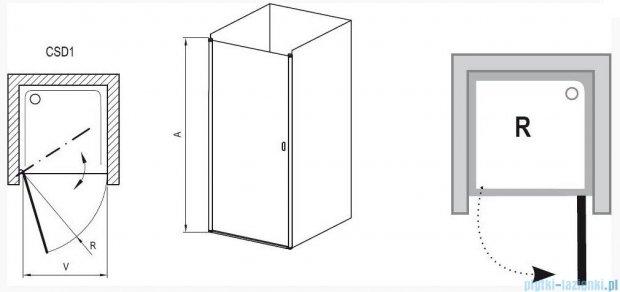 Ravak Chrome Drzwi prysznicowe CSD1-90 satyna+transparent 0QV70U00Z1