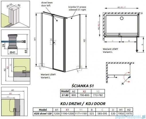 Radaway Eos II KDS kabina prysznicowa 120x80 lewa szkło przejrzyste 3799484-01L/3799410-01R