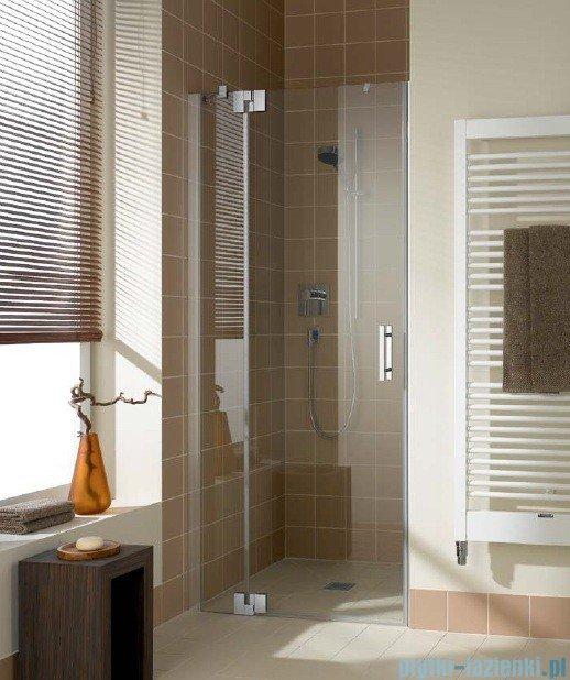 Kermi Filia Xp Drzwi wahadłowe z polem stałym, lewe, szkło przezroczyste, profile srebrne 100x200cm FX1TL10020VAK