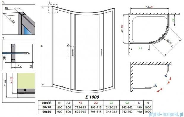 Radaway Premium Plus E Kabina prysznicowa 90x80 szkło przejrzyste + brodzik Siros E Compact prawy + syfon 30492-01-01N