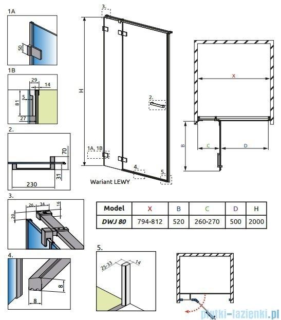 Radaway Euphoria DWJ Drzwi wnękowe 80 lewe szkło przejrzyste 383012-01L