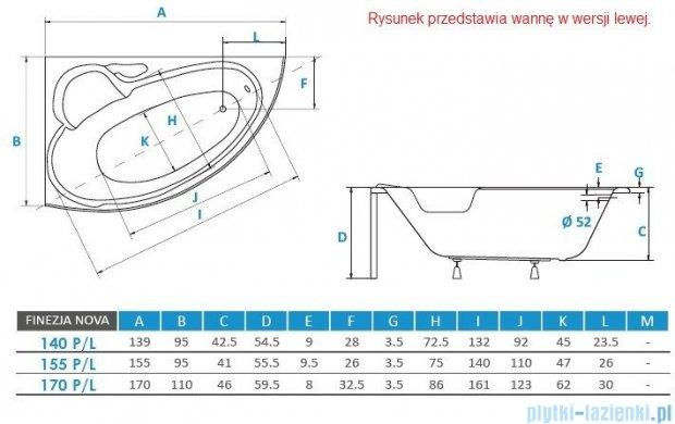 Piramida Finezja Maxi 170x110cm Wanna asymetryczna Lewa