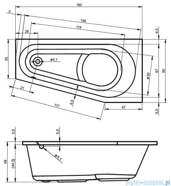 Riho Delta wanna asymetryczna lewa 160x80 z hydromasażem PRO Hydro 6+4+2/Aero11 BB83P7
