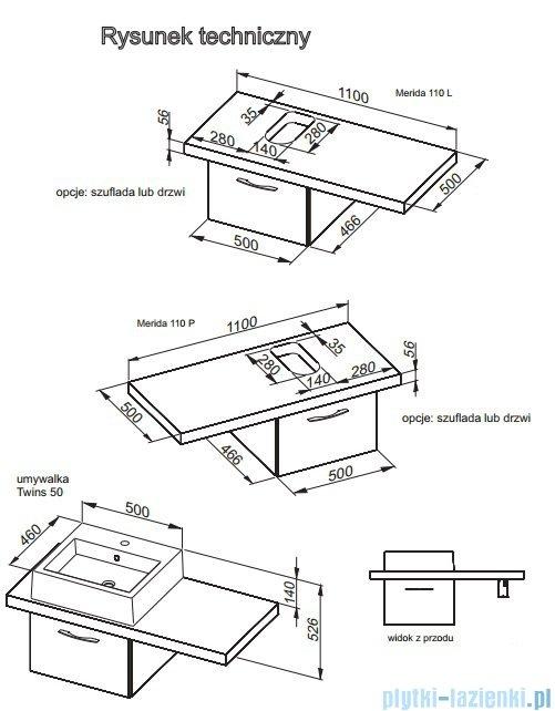 Aquaform Merida szafka z szufladą 50cm biała 0401-290141