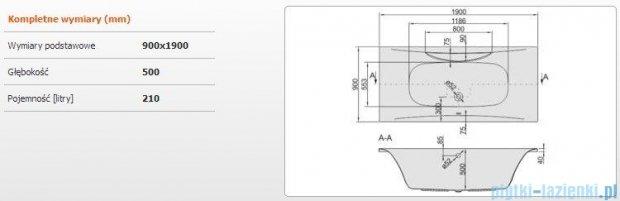 Sanplast Altus Wanna prostokątna WP-ALT/EX 190x90, 610-120-0350-01-000