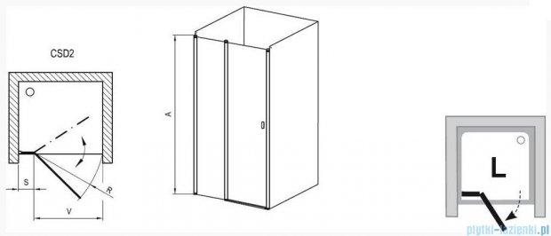 Ravak Chrome Drzwi prysznicowe CSD2-110 białe+transparent 0QVDC100Z1