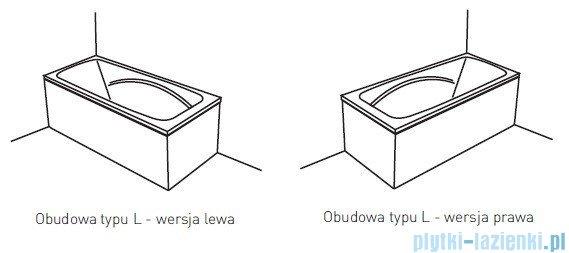 Poolspa Obudowa jednoczęściowa typu L (prawa) do wanny 140x70 PWOKD10OWL00000