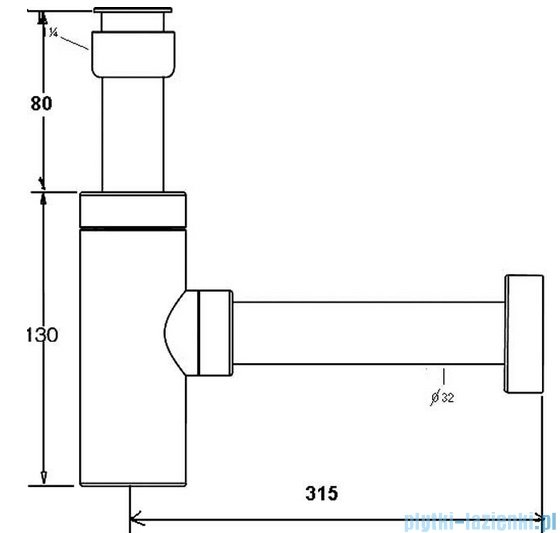McAlpine Syfon umywalkowy kwadratowy CA32SQEU-CB