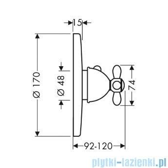 Hansgrohe Axor Carlton Bateria termostatowa podtynkowa High Flow z uchwytem krzyżowym chrom/złoty 17716090