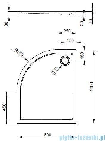 Radaway Brodzik półokrągły Tasos E 100x80 Prawy STE1086-30R