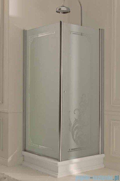 Kerasan Retro Kabina prostokątna lewa szkło dekoracyjne piaskowane profile chrom 80x96 9143P0
