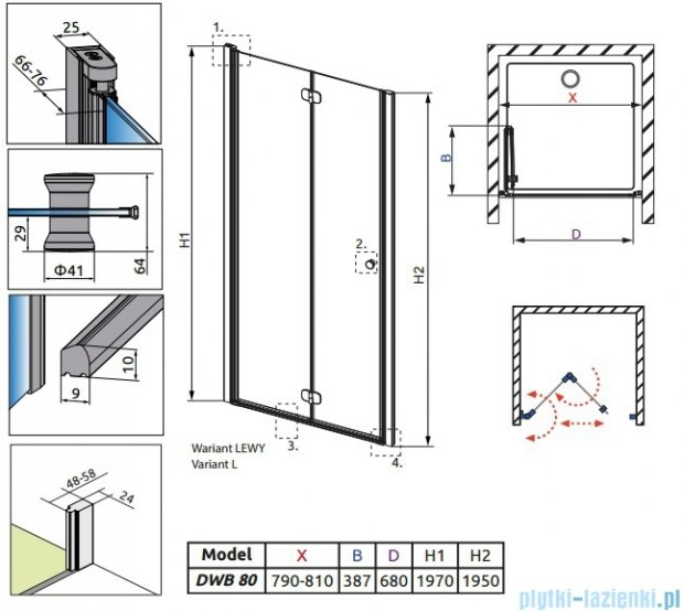 Radaway Eos DWB Drzwi wnękowe 80 lewe szkło przejrzyste 37813-01-01NL