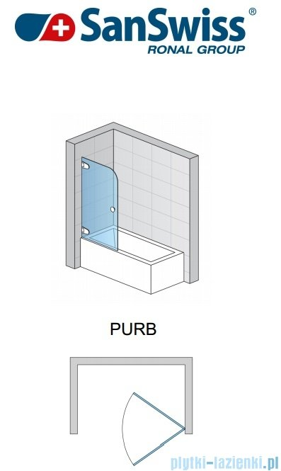 SanSwiss Pur PURB Parawan nawannowy 1-częściowy 70cm profil chrom szkło Master Carre Lewy PURBG07001030