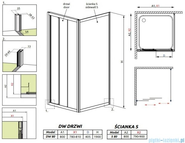 Radaway Treviso DW+S kabina 80x80 szkło fabric 32313-01-06N/32413-01-06N