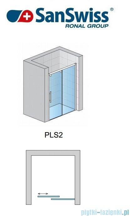 SanSwiss Pur Light S PLS2 Drzwi rozsuwane 150cm profil biały szkło przejrzyste Prawe PLS2D1500407