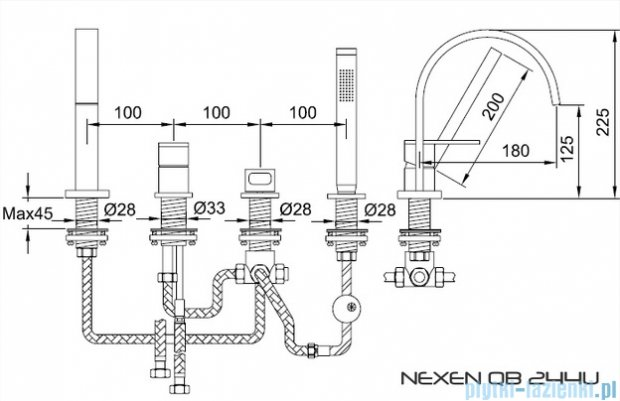 Kohlman Nexen-S 4-otworowa bateria wannowa z mieszaczem SQB244U