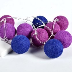 Lampki dekoracyjne kule - Cotton Balls - 10 kul - niebiesko-fioletowe