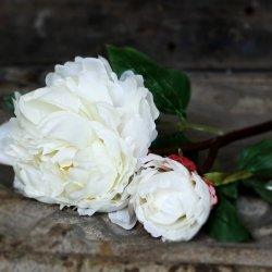 Sztuczny kwiat - Piwonia - biała