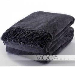 Koc Moca Design / frędzle - szary ciemny