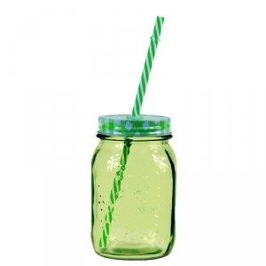 Słoik ze słomką - VICHY - zielony