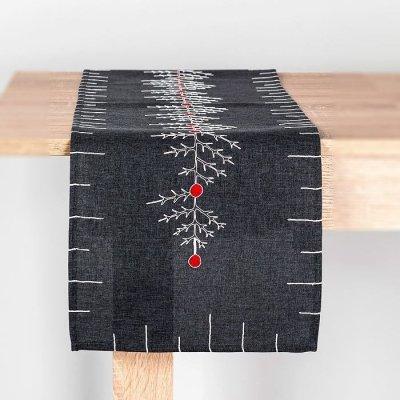 Bieżnik świąteczny CHRISTMAS - szary 32x140 cm
