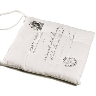 Poduszka na krzesło French Home - Carte Postale - biała