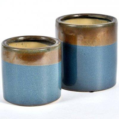 Doniczka Belldeco Włoskie Niebo - brązowo-niebieska - 16 cm