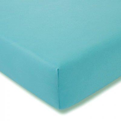 Prześcieradło ESTELLA Feinjersey z gumką - niebieskie turkusowe