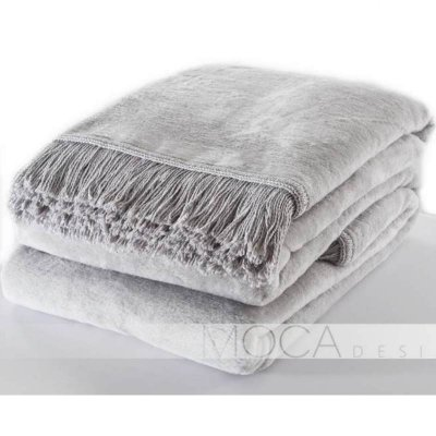 Koc Moca Design / frędzle - szary srebrny