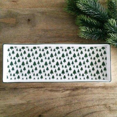 Świąteczny talerz Choinki - zielone 31,5x11,5 cm