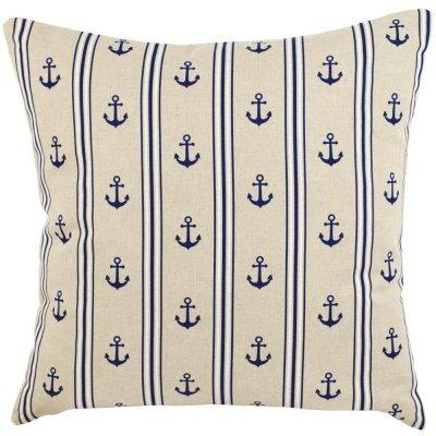 Poduszka French Home - Marynarska Kotwice + Paski - beżowa