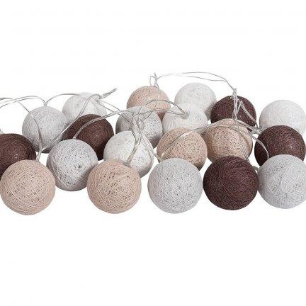 Lampki dekoracyjne kule - Cotton Balls - 20 kul - szaro-brązowe