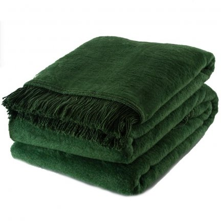 Koc Moca Design / frędzle - zielony ciemny