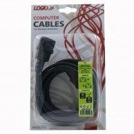 Kabel sieciowy 230V przedłużacz, C13-C14, 3m, VDE approved, Logo, blistr