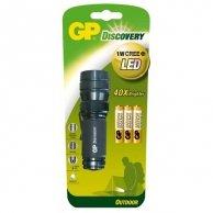 LED Flashlight, 3xAAA, metalowy, czarna, GP LCE604
