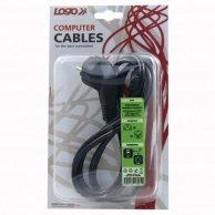Kabel sieciowy 230V łączący, CEE7 (widelec)-C13, 2m, VDE approved, Logo, blistr