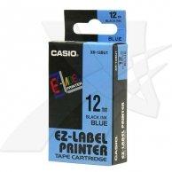 Casio taśma do drukarek etykiet, Casio, XR-12BU1, czarny druk/niebieski podkład, nielaminowany, 8m, 12mm