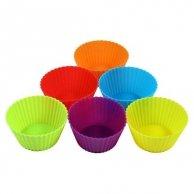 Forma silikonowa, 7.5 x 3.5cm, color, 6ks, forma na muffinki
