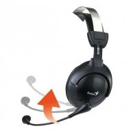 Genius, HS-505X, słuchawki z mikrofonem, regulacja głośności, czarna, 3.5mm konektor