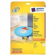 Avery Zweckform etykiety na CD 117/41mm, A4, matowe, białe, 2 etykiety, pakowany po 25 szt., do drukarek atramentowych i laserowyc