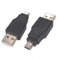Redukcja USB(A)-USB(mini), M/M, Logo, blistr