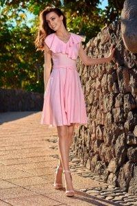 1 Sukienka L253 pudrowy róż PROMO