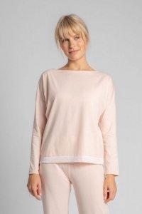 LA040 Bluzka od piżamy z koronkowym brzegiem - brzoskwiniowy